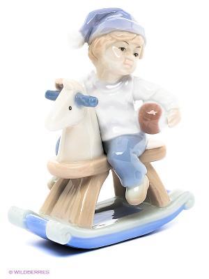 Фигурка Мальчик на лошадке Pavone. Цвет: молочный, сиреневый