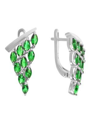 Серьги BALEX. Цвет: зеленый, серебристый
