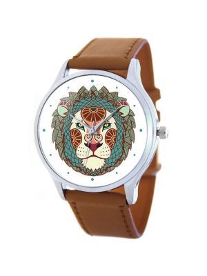 Дизайнерские часы Лев Tina Bolotina. Цвет: бирюзовый,коричневый,белый