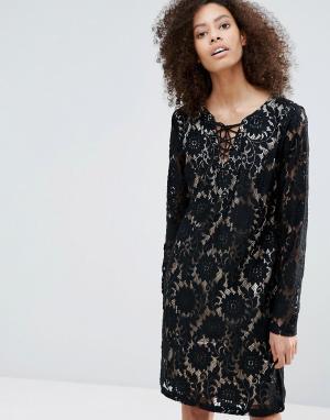 B.Young Платье с длинными рукавами и контрастным кружевом. Цвет: черный