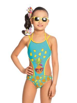 Купальник слитный для девочек Arina. Цвет: голубой,оранжевый,желтый