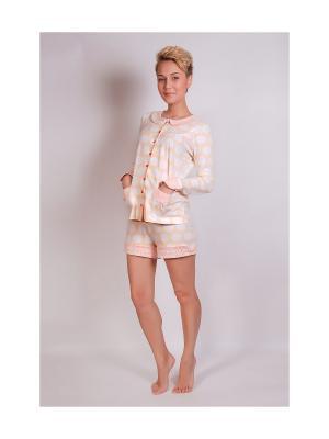 Пижама Косичкина. Цвет: бежевый, белый, терракотовый