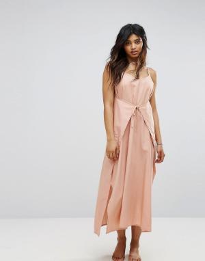 Zulu and Zephyr Пляжное платье макси с запахом &. Цвет: розовый