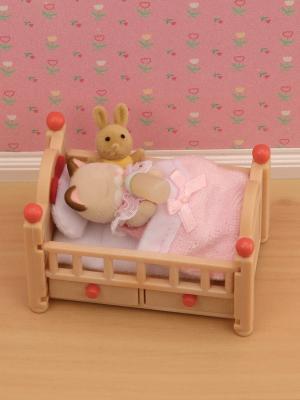 Набор Детская кроватка Sylvanian Families. Цвет: светло-коричневый, розовый
