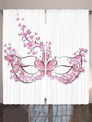 Комплект фотоштор из полиэстера высокой плотности Маска с бабочками, 290*265 см Magic Lady. Цвет: белый, розовый, фиолетовый