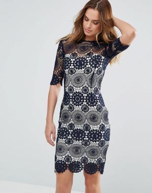 Paper Dolls Темно-синее платье с кружевом кроше и контрастной подкладкой Dol. Цвет: черный