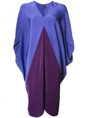 Платье шифт с V-образным вырезом Zero + Maria Cornejo. Цвет: розовый и фиолетовый