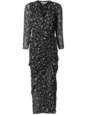 Присборенное платье с разрезом сбоку Veronica Beard. Цвет: чёрный