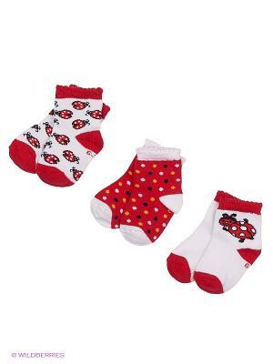 Носки, 3 пары PERA MAYA. Цвет: белый, красный