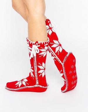Loungeable Красные вязаные носки с новогодним дизайном Nordic. Цвет: красный