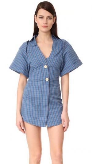 Платье-рубашка в клетку с короткими рукавами Jacquemus. Цвет: голубая клетка