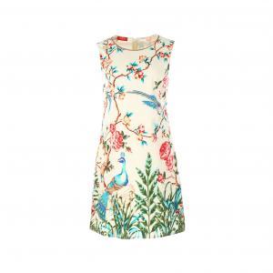 Платье без рукавов с цветочным рисунком и птицы RENE DERHY. Цвет: рисунок цветочный/белый