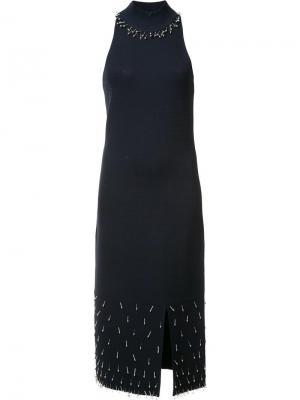 Декорированное платье без рукавов Jonathan Simkhai. Цвет: синий