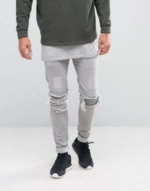 Other UK Байкерские джинсы скинни с прорехами. Цвет: stone