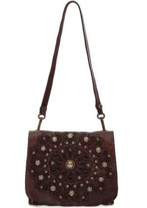 Маленькая кожаная сумка с откидным клапаном Campomaggi. Цвет: бордовый