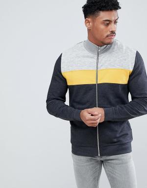 ASOS Спортивная куртка со вставками DESIGN. Цвет: серый