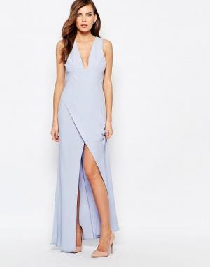 Keepsake Платье макси с разрезом сбоку. Цвет: синий
