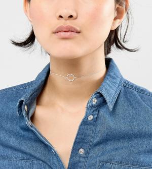 Orelia Серебристое ожерелье-чокер. Цвет: серебряный