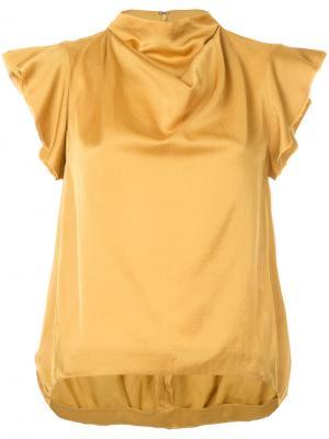 Блузка с высоким воротом 08Sircus. Цвет: коричневый