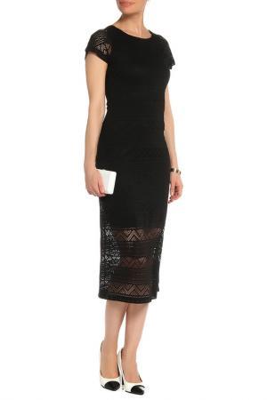 Платье с декоративной отделкой по низу Mix Ray. Цвет: черный