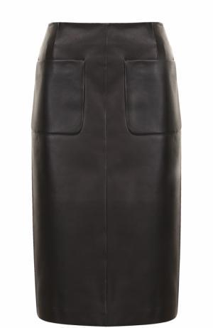 Кожаная юбка-миди с карманами Escada. Цвет: черный