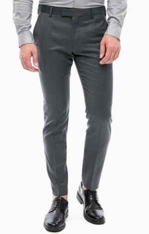 Зауженные брюки из шерсти Strellson. Цвет: серый