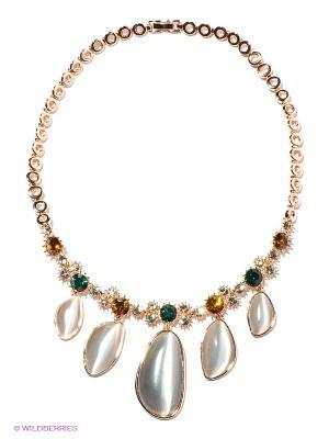 Колье Bijoux Land. Цвет: золотистый, зеленый, светло-серый