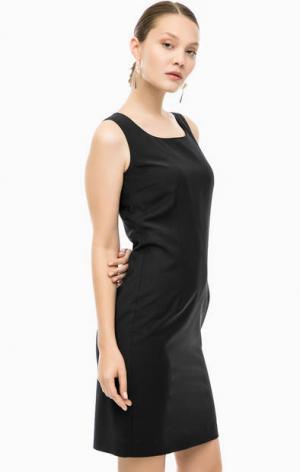 Платье-футляр из костюмной ткани Cinque. Цвет: черный