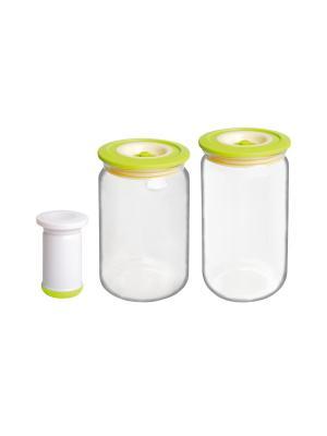 Набор вакуумных банок с насосом, 0,75/1 л BAYERHOFF. Цвет: салатовый