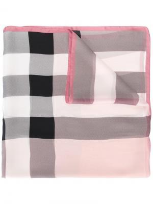 Шарф в клетку Burberry. Цвет: розовый и фиолетовый