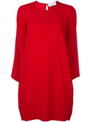 Платье с круглым вырезом и длинными рукавами Gianluca Capannolo. Цвет: красный