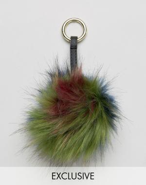 My Accessories Подвеска для сумки с цветным помпоном из искусственного меха Access. Цвет: мульти