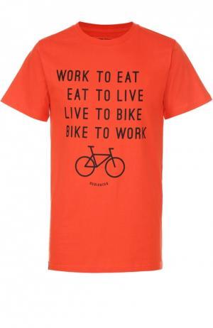 Хлопковая футболка с принтом Dedicated. Цвет: красный
