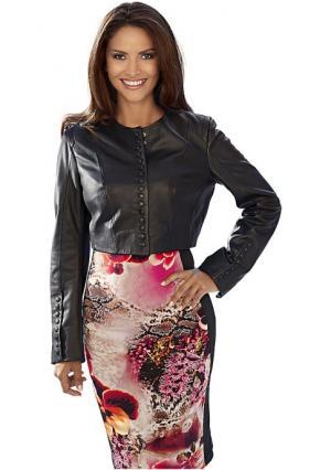 Кожаная куртка Ashley Brooke. Цвет: бирюзовый, красный, лиловый, черный, ярко-розовый