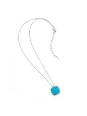 Кулон на цепи Nina Ford. Цвет: голубой, серебристый