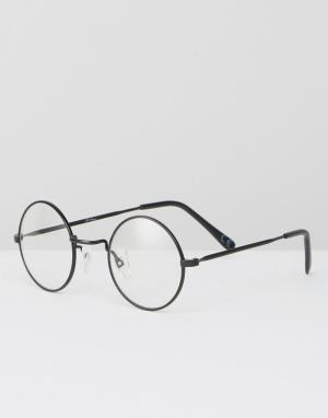 Jeepers Peepers Круглые очки с прозрачными стеклами. Цвет: черный