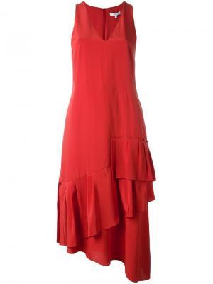 Платье c V-образным вырезом Tibi. Цвет: красный