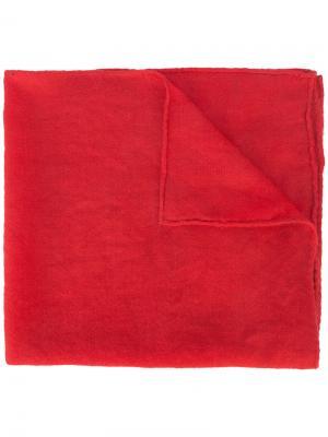 Тканый кашемировый шарф Ryan Roche. Цвет: красный