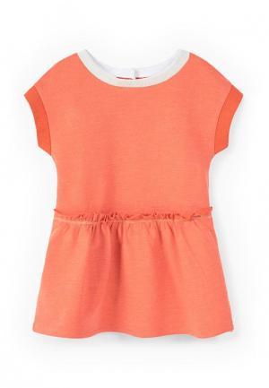 Платье Mango Kids. Цвет: коралловый