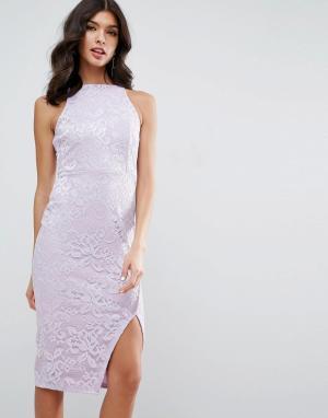 ASOS Кружевное платье миди с высокой горловиной и запахом на юбке. Цвет: фиолетовый