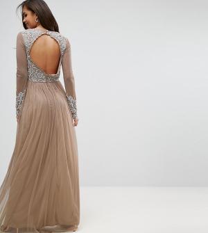 Maya Tall Платье макси с длинными рукавами. Цвет: белый