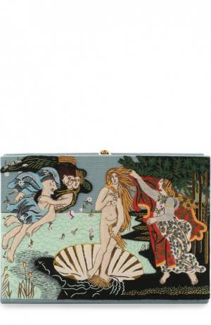 Клатч Botticelli с вышивкой Olympia Le-Tan. Цвет: голубой