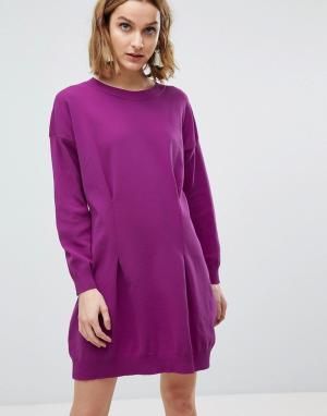 ASOS Структурированное вязаное платье мини. Цвет: фиолетовый
