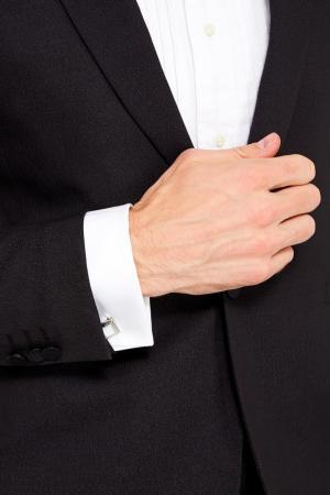 Серебристые запонки с белым жемчугом Canali. Цвет: белый