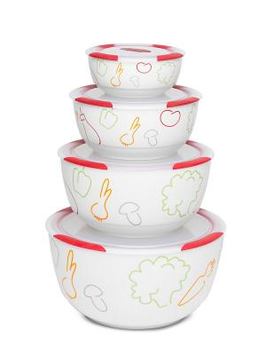 Набор керамических салатников с крышками OURSSON. Цвет: красный, белый