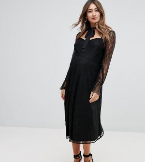 Queen Bee Кружевное короткое приталенное платье для выпускного с вырезом B. Цвет: черный