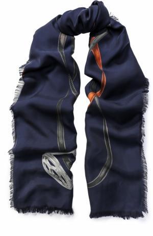 Шелковый платок с принтом Franco Ferrari. Цвет: темно-синий