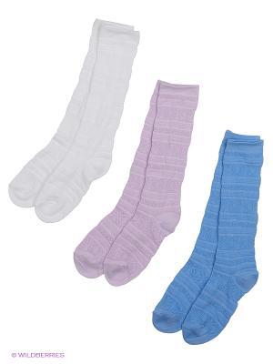 Носки - 3 пары Гамма. Цвет: белый, голубой, сиреневый
