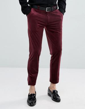 ASOS Бордовые бархатные укороченные брюки зауженного кроя в строгом стиле A. Цвет: красный