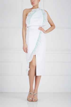 Шелковая юбка-карандаш Ester Abner. Цвет: белый